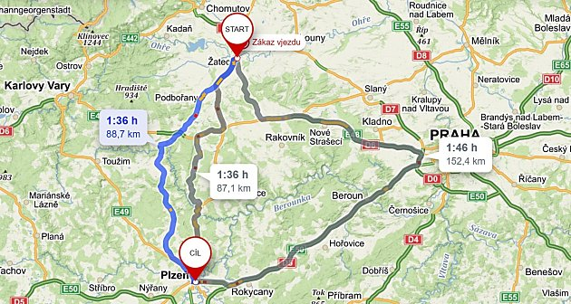 Navigace mapy.cz nabízí jednu ze tří tras cestu mezi Žatcem a Plzní přes Prahu. Je sice ozhruba 70kilometrů delší než zbylé dvě, časově ale vyjde téměř nastejno.