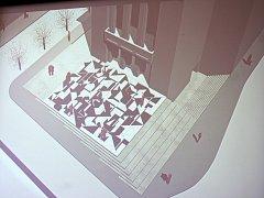 Možná budoucí podoba prostoru před Vrchlického divadlem v Lounech. Vévodí mu mozaika od Zdeňka Sýkory
