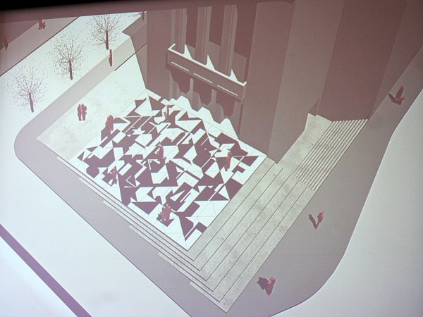 Možná budoucí podoba prostoru před Vrchlického divadlem vLounech. Vévodí mu mozaika od Zdeňka Sýkory