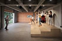 Vizualizace nové budovy základní umělecké školy v Podbořanech.