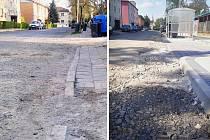 Ulice Bratří Čapků v Žatci. Vlevo je její stav na jaře 2016, před začátkem prací. Vpravo aktuální podoba v květnu 2017