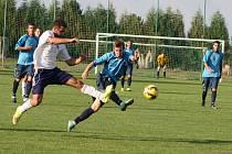 Utkání Podbořan (v modrém) proti Chomutovu