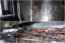 Požár v lakovně v Kryrech