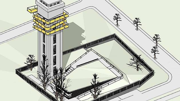Vizualizace budoucí podoby rozhledny, která vznikne z vodárenské věže v Lounech