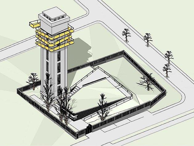 Vizualizace budoucí podoby rozhledny, která vznikne zvodárenské věže vLounech