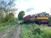 Vykolejený vlak u Hřivic