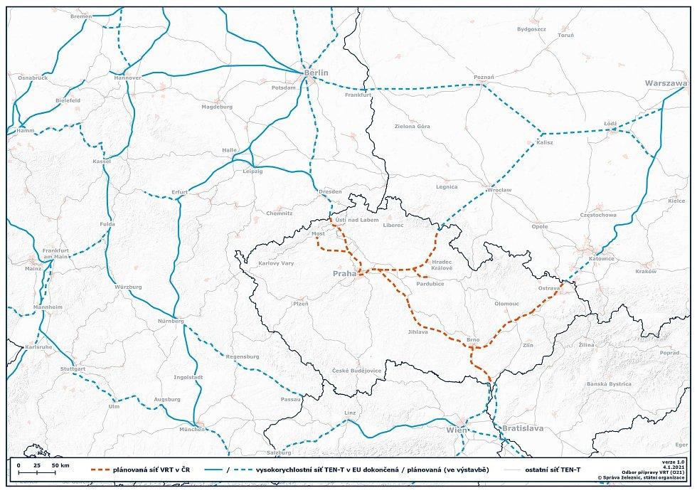 Mapa ukazuje síť dokončených a plánovaných vysokorychlostních železnic ve střední Evropě.