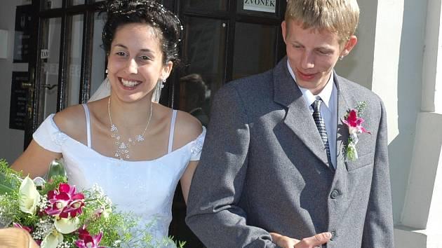 Dana Gabčová a Jiří Malý byli prvním párem, který uzavřel v sobotu 7. 7. 2007 sňatek na radnici v Žatci.