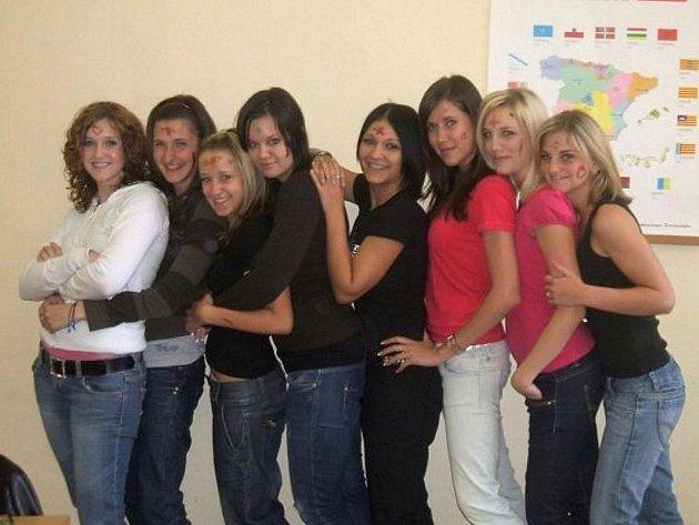 Studentky a studenti třídy 4.A lyceum Obchodní akademie gen. F. Fajtla Louny