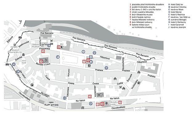 Mapka města Louny, kde bude probíhat program vrámci festivalu Kouzlo světla.