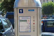 Parkovací automat na žateckém Kruhovém náměstí