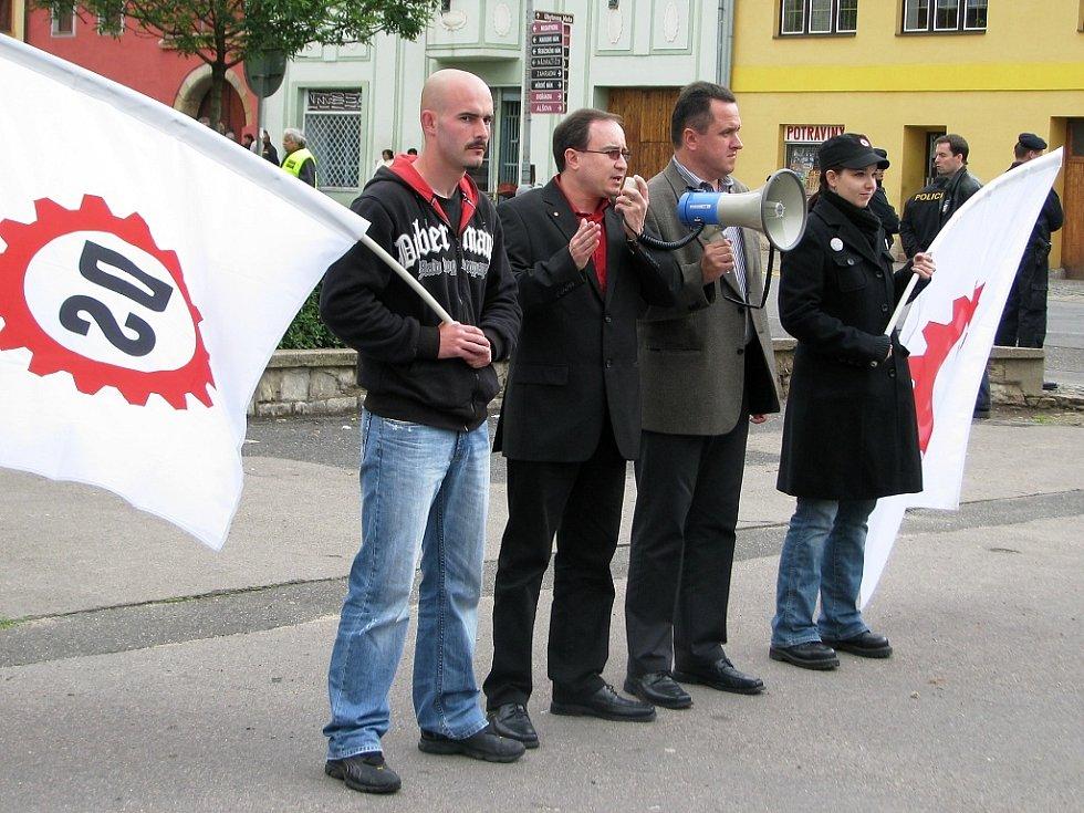 Mítink Dělnické strany v Postoloprtech 30. května 2009