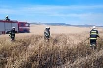Hasiči likvidují požár obilí u Chožova