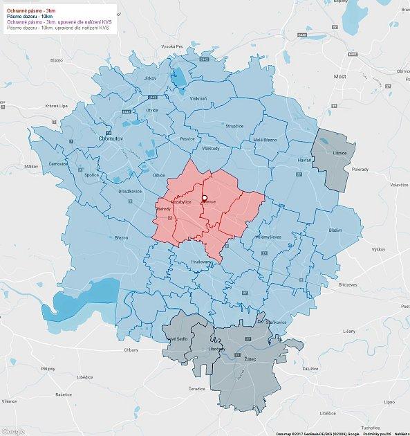 Grafika Státní veterinární správy ukazuje tříkilometrové ochranné pásmo (červeně) a desetikilometrové pásmo dozoru (modře).