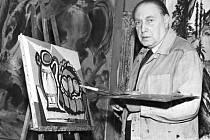 Emil Filla při práci v Peruci na snímku z roku 1951. Archiv ČTK