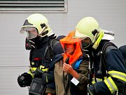 Velké cvičení záchranných složek v továrně firmy Grammer vzóně Triangle u Žatce