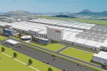 Vizualizace leteckého pohledu na továrnu Nexen Tire v průmyslové zóně Triangle u Žatce