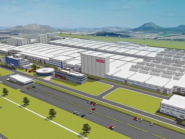 Vizualizace leteckého pohledu na továrnu Nexen Tire vprůmyslové zóně Triangle uŽatce