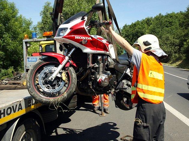 Nehoda motorkáře u Žiželic