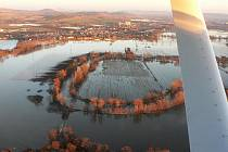 Zaplavená lokalita Mělce u Loun