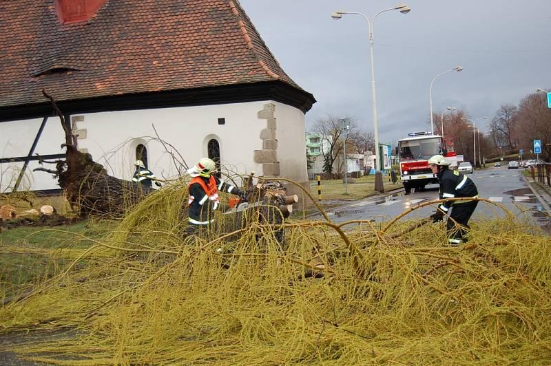 Hasiči odstraňují vzrostlou vrbu, kterou v sobotu ráno srazila silná vichřice.