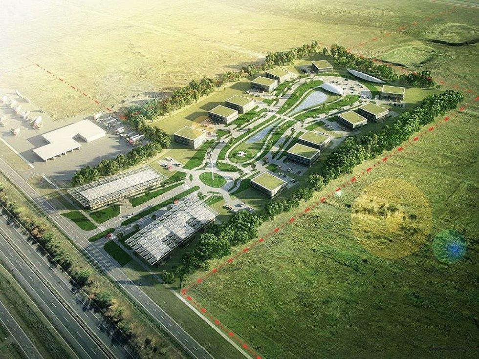 Ilustrace Triangle City v průmyslové zóně u Žatce.