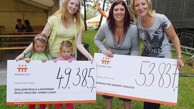 Symbolické šeky předala za Nadaci ČEZ Soňa Holingerová (vpravo). Za mateřskou školku je převzaly děti a vedoucí učitelka Zuzana Beerová (vlevo), za domov pro seniory jeho ředitelka Markéta Masárová.