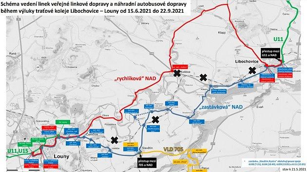 Mapka ukazuje, kudy budou jezdit autobusy při výluce mezi Louny a Libochovicemi.