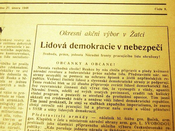 Nastala rozhodná chvíle, noviny vroce 1948burcovaly kostražitosti.