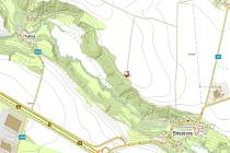 Na mapce je vyznačeno místo, kde byla mrtvola zavražděného muže nalezena.
