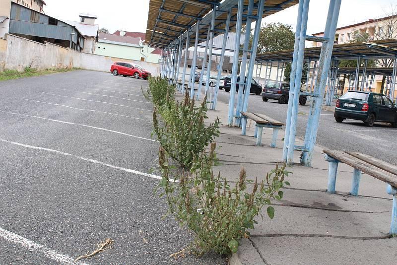 Prostor parkoviště u autobusového nádraží by zasloužil lepší péči.