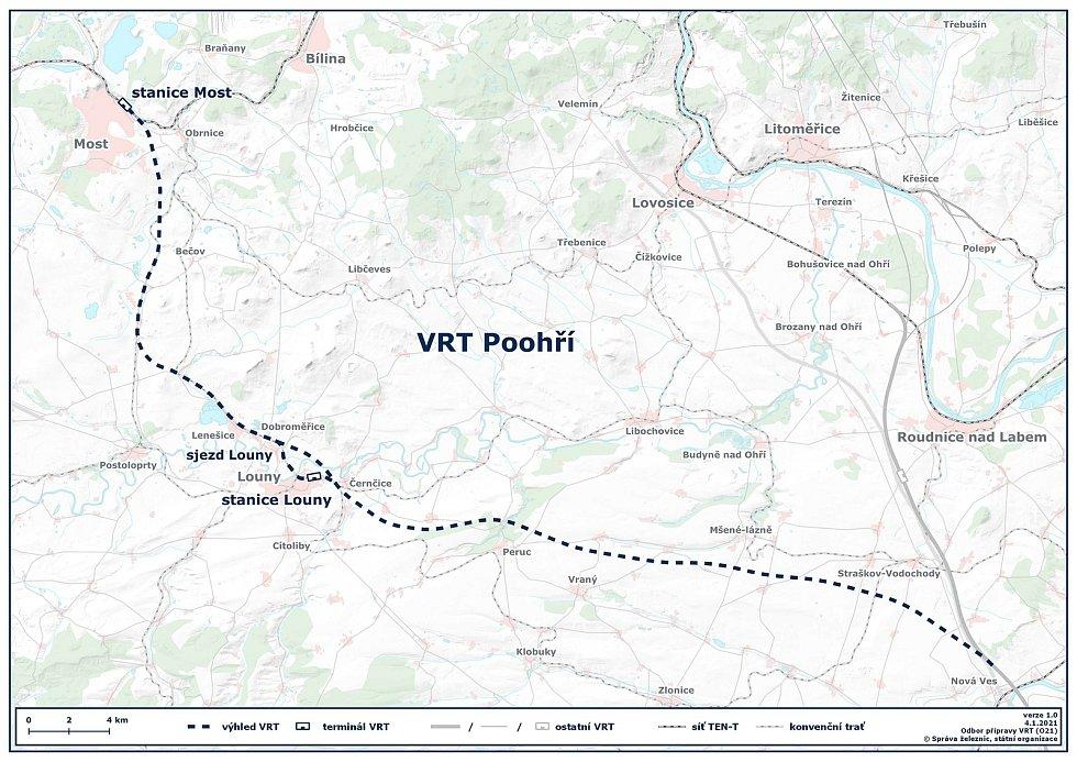 Mapa ukazuje, kudy by měla vést vysokorychlostní trať do Loun a Mostu.