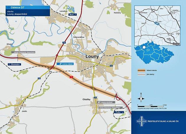 Po rozšíření obchvatu Loun na dálnici D7 bude zrušena křižovatka Louny střed. Ze silnice Louny Cítoliby tedy nebude možné na dálnici najet ani zní vyjet