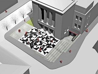 Návrh architekta Josefa Pleskota a Lenky Sýkorové na úpravu prostoru před Vrchlického divadlem v Lounech
