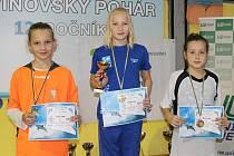 Jitka Hornofová (uprostřed) z Plavecké školy Louny ve své věkové kategorii v Litvínově vyhrála.