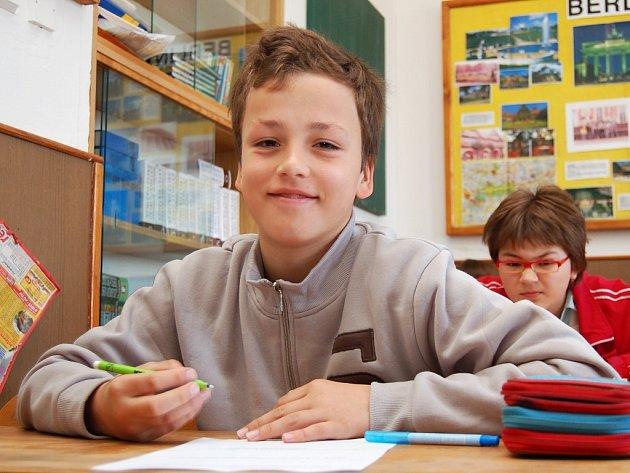 Ondřej Sova při matematickém testu.