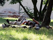 """Ještě před několika týdny se bezdomovec v Žatci vyhříval na trávě nedaleko obchodu v ulici Bratří Čapků, kde dlouhodobě """"bydlí"""". Pak ale přišla zima a zdravotní problémy, přijela pro něj sanitka a musel do nemocnice. Vrátí se na ulici?"""