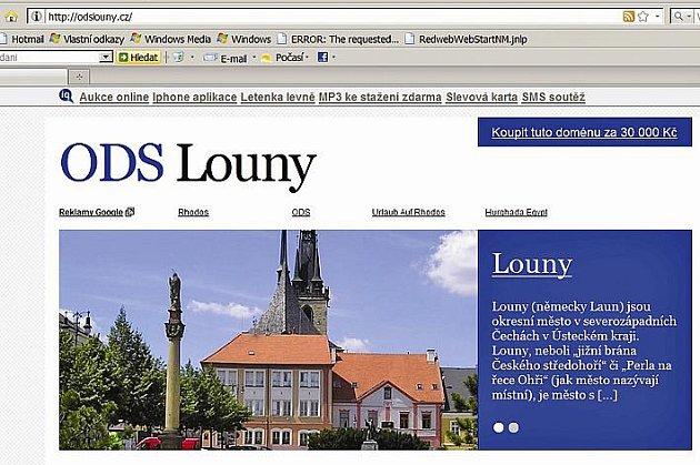 Místní organizace ODS v Lounech své webové stránky už ani nemá. Doménu zřejmě získal spekulant, který ji nabízí k prodeji za 30 tisíc korun.