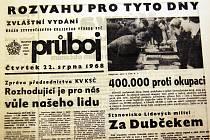 Titulní strana zvláštního vydání Průboje z 22. srpna 1968