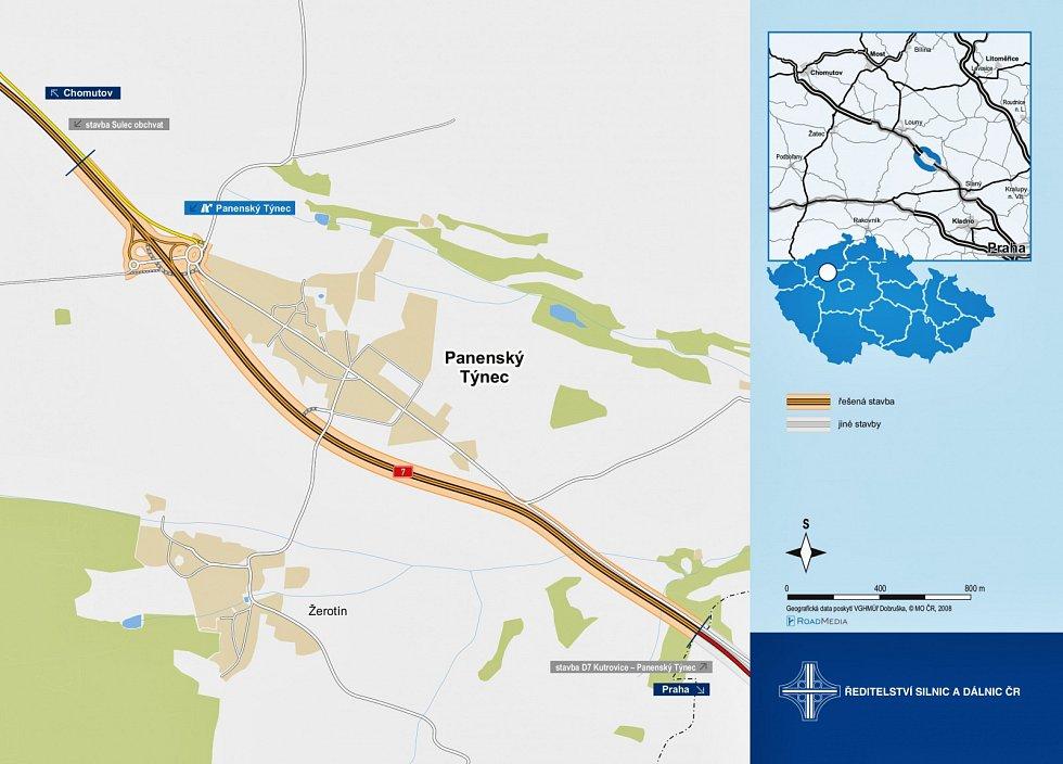 Mapka ukazuje úsek silnice I/7 u Panenského Týnce, který se dočká zkapacitnění v rámci dostavby dálnice D7