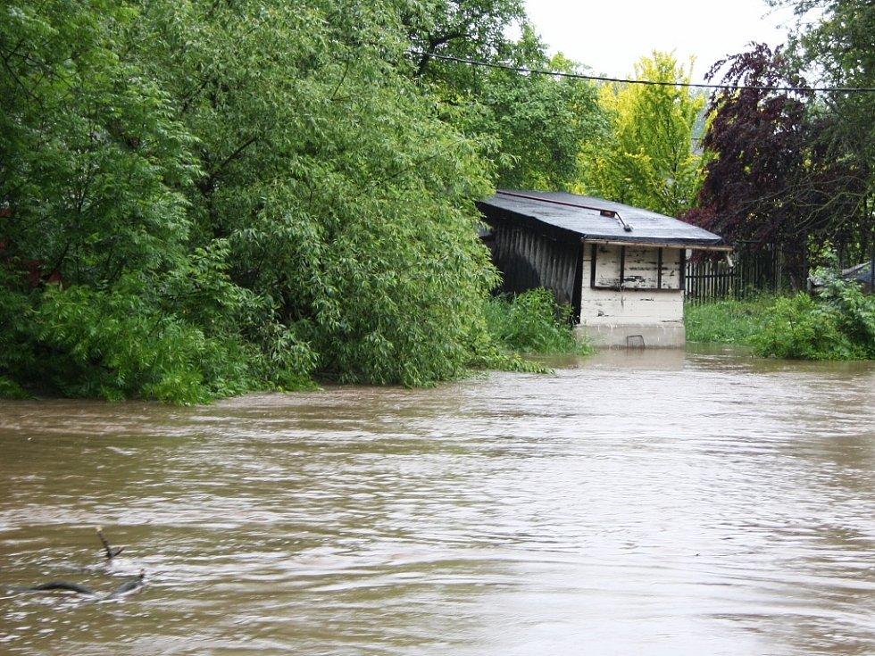Rozvodněná Ohře v Lounech 4. 6. 2013. Pohled od loutkového divadla na zahrádkářské kolonie