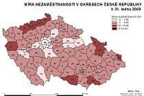 Míra nezaměstnanosti v okresech ČR