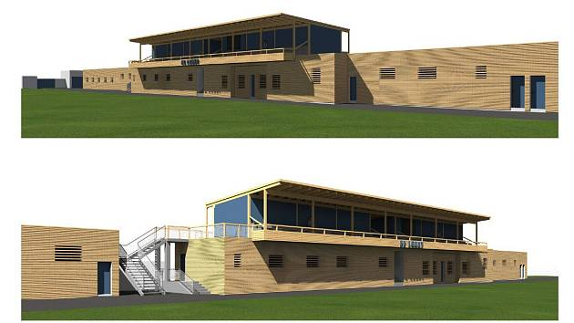 Vizualizace nové fotbalové tribuny v Lounech.