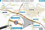 Mapa ukazuje, kde by nová lávka pro pěší měla mezi Cítoliby a Louny vyrůst.