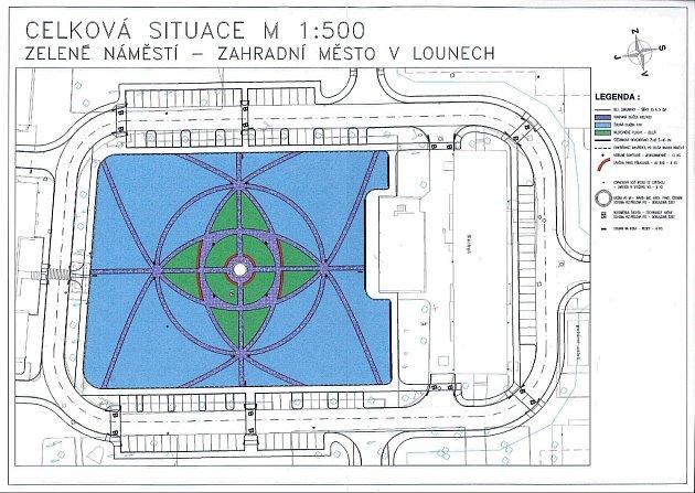 Schválený návrh úpravy centrální plochy Zeleného náměstí vZahradním městě vLounech. Autorem je architekt Pavel Čermák. Do doby realizace se může ještě mírně změnit.