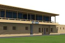 Tak má podle projektu v budoucnu vypadat hlavní budova s tribunou na Městském stadionu Ladislava Nováka v Lounech.