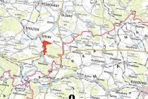 Na mapce je červenou barvou vyznačeno, kde má nová přehrada u Kryr vyrůst.