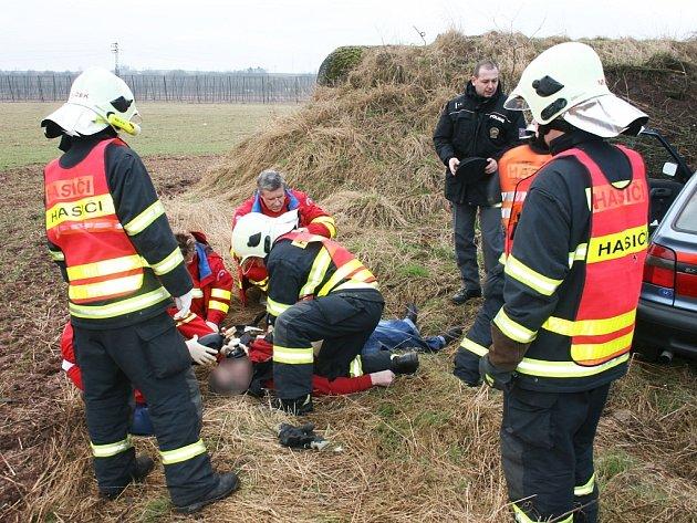Záchranáři se snaží oživit řidiče, který u Trnovan vyjel ze silnice.