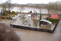 Povodeň v Lounech v roce 2011.