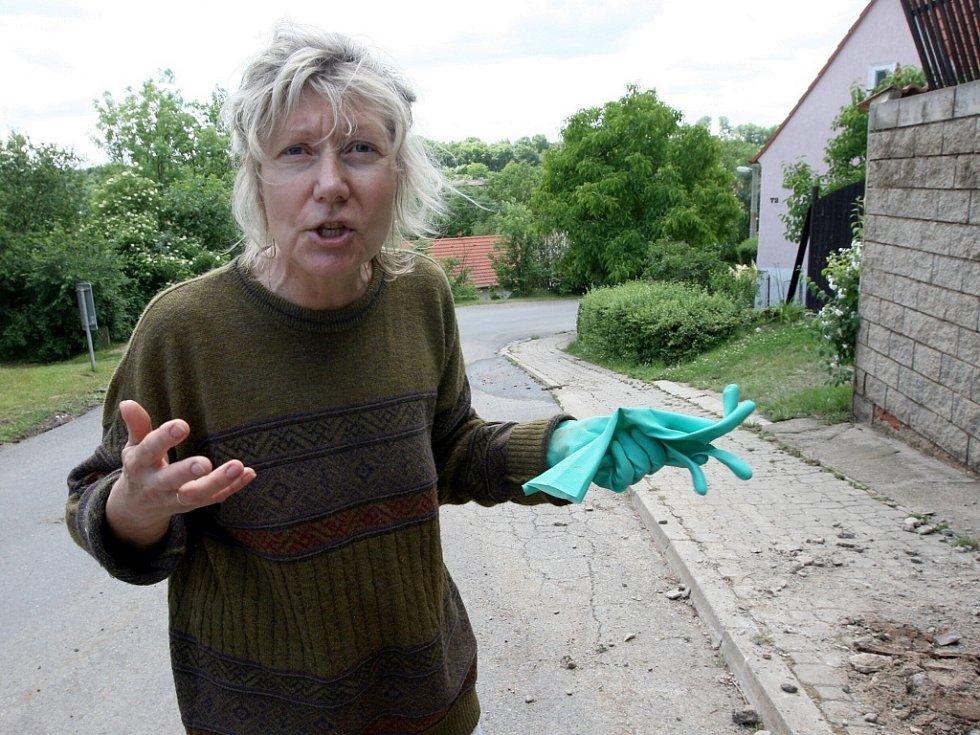 Obyvatelka Bítozevsi Elena Sokolova, které naplavené bahno zaplavilo sklepení domu a voda poškodila zeď u jejího domu.